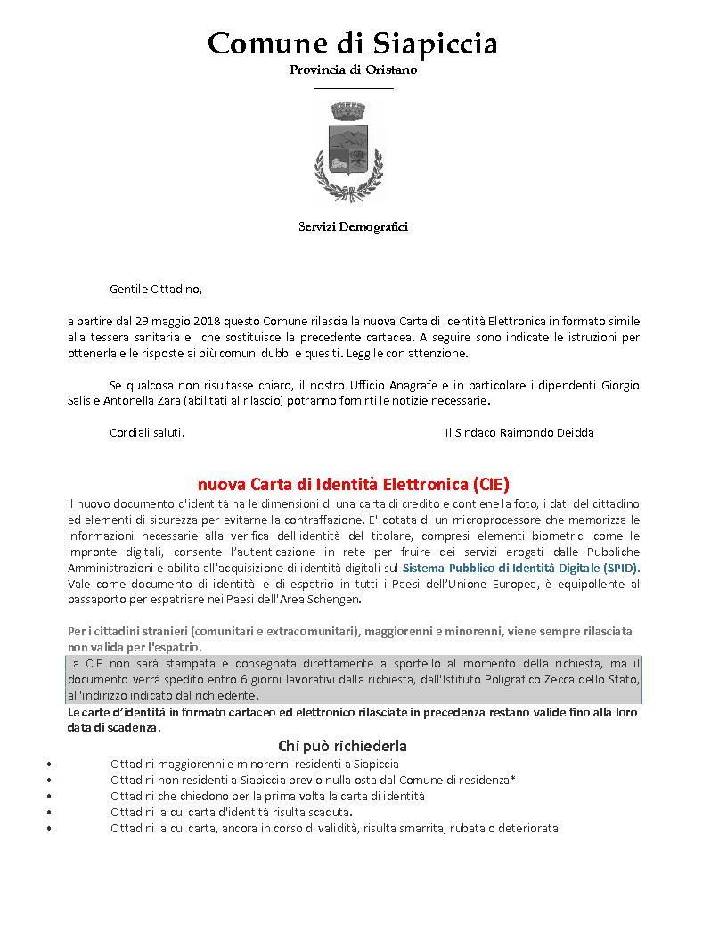 Comune di siapiccia sito internet istituzionale for Requisiti carta di soggiorno 2017
